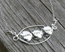 15% off - Personalized Peapod Necklace (3 peas)