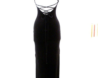 Vintage Black Velvet Evening Dress with Corset Back - 80s Black Velvet Corset Prom Dress - Black Maxi Wiggle Dress - Size Small to X Small