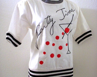 Vintage 80s White Cotton Ramie Tunic Top with Party Time Applique & Embroidery - Novelty Martini Glass Red White Blue Blouse - Size Small