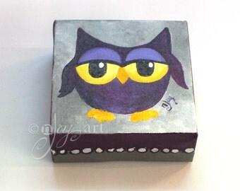 The Daily Hoot - 9.20.16, Mini Purple Owl Painting,  4x4 acrylic canvas art