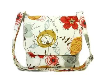Funky Floral Crossbody Purse, Small Messenger Bag for Women, Colorful Pocketbook, Cross Body Handbag, Fabric Purse, Cotton Hip Bag