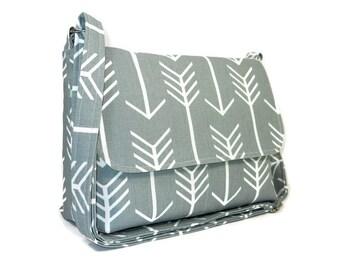 Gray Arrow Purse, Gray Crossbody Bag, Medium Small Messenger Bag for Women, Fabric Purse,  Cotton Pocketbook, Cross Body Handbag, Arrow Bag