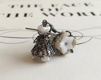 Origami Flower Earrings - White Buds