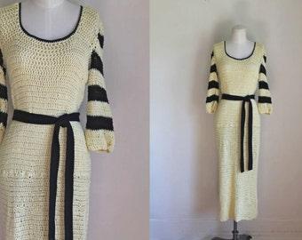 vintage 1960s sweater dress - BUBBLE yellow & black 30s style crochet dress / M-L-Xl