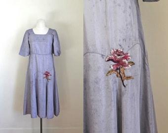 vintage 1920s dress - LILY of the INCAS purple floral applique flapper dress / S