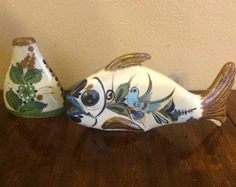 Mexican Tonala Talavera Pottery - vase and fish - Handpainted Folk Art from Mexico
