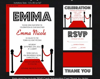 Hollywood Bat Mitzvah Invitation - Red Carpet Event - Rsvp Reply Card - Thank You Note Cards - Envelope Addressing - USE FOR ANY Event