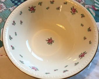 Vintage Serving Bowl Rambler Rose Eggshell Georgian Homer Laughlin Made in The USA #3741
