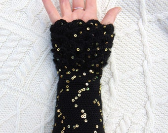 Black Sequin Arm Warmers, Dragon Scale, Crocodile Stitch Gauntlets, Gold Sequin Wrist Warmers Fingerless Gloves Crochet