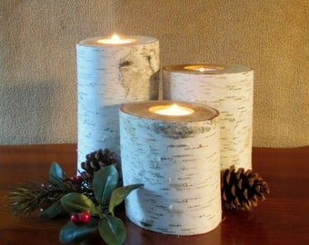 "Home Decor Birch Candle Holders 8"",6"",4"" Holiday  Wedding Decor  Reception Centerpieces  Interior Design"