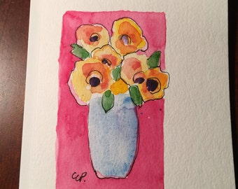 Vase of Flower Watercolor Card/ Hand Painted Watercolor Card