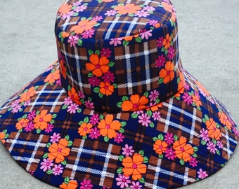 Winter Hat Small Brimmed Hat Floral print and Plaid Vintage Hat by Freckles California