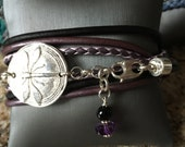 On sale from 75.00 to 68.00 - Triple wrap leather bracelet with 999 Fine  Silver Dragonfly Medallion, Great on its own or Layering