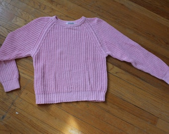 baby pink open knit raglan sleeve sweater size Small or Medium