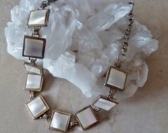 Mother of Pearl Gold Necklace, Vintage MOP Link Necklace