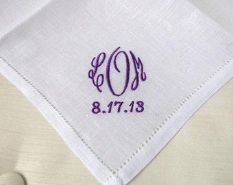 Irish Linen Hemstitched Handkerchief with Monogram & Date