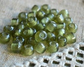 100pcs Pony Glass Beads Transparent Olive Green 9x7mm Crow Beads