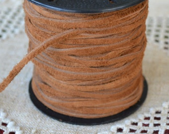 5 Meters of 3mm x 1mm Genuine Camel Brown Real Suede Leather Lace