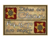"Dishes Are Clean Dishes Are Dirty Dishes Dishwasher Sunflowers Fridge Refrigerators Magnet 3.5""X2.5"""