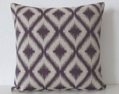 Ikat Fret Woven Amethyst purple decorative pillow cover