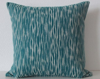 Akana Weave Turquoise - Teal - Uneven stripes - decorative pillow cover
