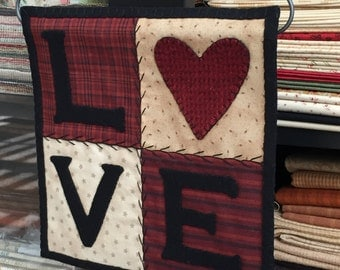 HAND STITCHED Primitive Folk Art Wool Applique Mini Quilt - L O V E -  (Hanger is included) - FREE Shipping