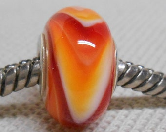 Handmade Glass Lampwork European Charm Bracelet Bead Large Hole Bead White with Red and Orange Swirl