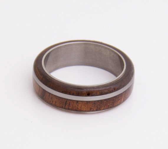Titanium Ring Men Wedding Ring With Curly Hawaiian By