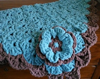 Teal/Brown square scalloped baby blanket-hand crocheted-bulky and soft #stroller blanket#car seat blanket#photo prop#play matt#nap matt