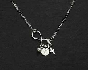 ON SALE Personalized Infinity Cross Initial Disc Necklace,Birthstone, Initial Disc,Tiny Cross,Monogram Charm Necklace,Sterling Silve