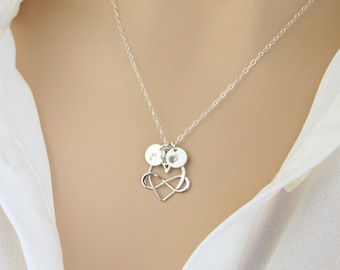 Personalized Infinity Heart, Initial Disc Necklace, Mother/Wife Necklace, Couples Necklace, Personalize Infinity Disc, Birthday Gift