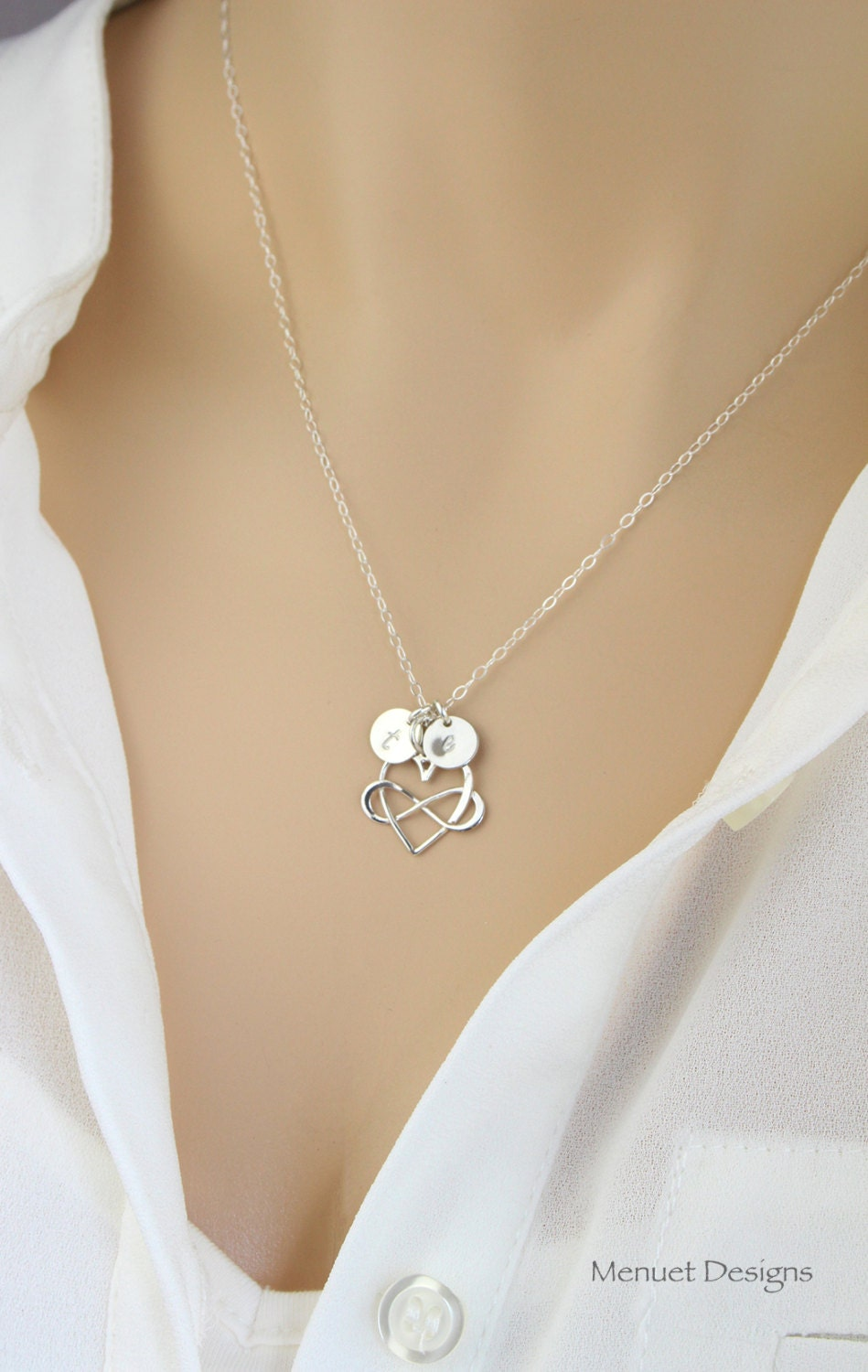 personalized silver infinity heart necklace monogram initial. Black Bedroom Furniture Sets. Home Design Ideas