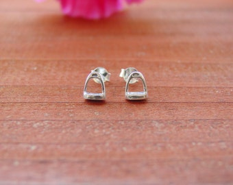 Tiny Stirrup Horse Stud Earrings,Equestrian Jewelry,Stirrup Jewelry