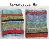 Winter Knit Hat Reversible Mens Womens Kids Cute Slouchy Knit Ski Hat Striped ready to ship gift for teens trendy colorful soft chunky