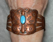 Reserved for Octavia - Vintage COPPER BUTTERFLY BRACELET - Native American - Navajo Turquoise, Trading Post - Sizeable