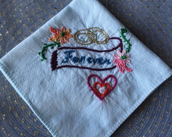 Baby Blue Hand Embroidered Bridal Handkerchief