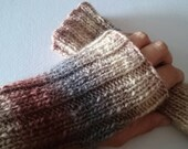 Shades of Cream, Brown and Grey Handknit wristers fingerless mitts or gloves knit from pure Australian wool