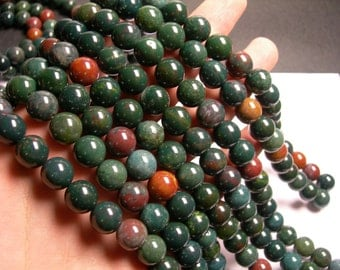 Bloodstone - 12mm round beads - 1 full strand - 34 beads - A quality - RFG921