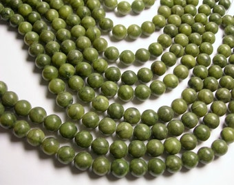 Serpentine jade -  10mm round - A quality - 39  beads per strand full strand - RFG1067