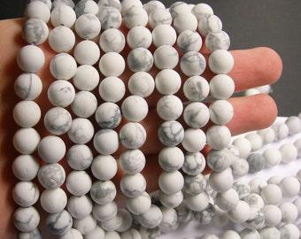 White Howlite turquoise Matte - 10 mm round beads -1 full strand - 39 beads - Matte - RFG504