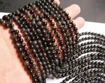 Arfvedsonite - 6mm round - A quality - 66 beads per strand -  1 full strand - RFG707