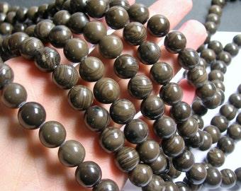 Coffee Jasper - 12mm  round beads -1 full strand - 32 beads - RFG724