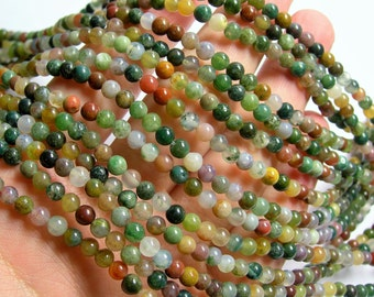 Indian agate - 4mm (4.3mm) round beads -  89 beads -  Full strand - RFG789