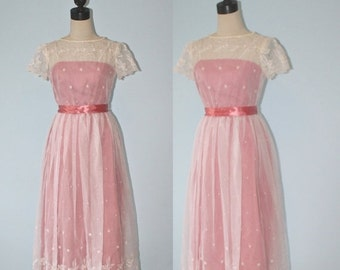 SALE Vintage 1960s Party Dress . 60s Pink Satin & Sheer Chiffon Floral Lace Overlay . Garden Tea Party Bridesmaids Dress . Size Extra Small