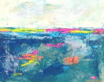 Colorful small mixed media painting - Bright Horizon 3 10 x 8