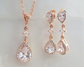 Crystal Bridal Earrings,Rose Gold Bridal Earrings Set,Crystal Wedding Necklace and Earrings, Bridesmaid jewelry,Wedding Jewelry,Bride,GIA