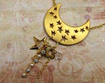 Star Necklace, Gold Half Moon Shape
