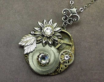 Steampunk Gears Silver Flower Necklace, Watch Plate Stainless Silver, Clear Crystals