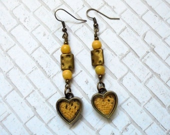 Light Mustard Yellow and Brass Heart Earrings (2800)