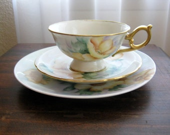 Vintage Beautiful Porzellanfabrik Arzberg Germany Plate with Cup and Saucer Set